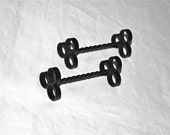 Pair Black Wrought Iron Knife Rests Sweet and Twisted