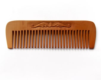 Wide teeth wooden hair comb, wood carving, head scalp massage, eco friendly, antistatic, natural hair accessory, handmade, MariyaArts
