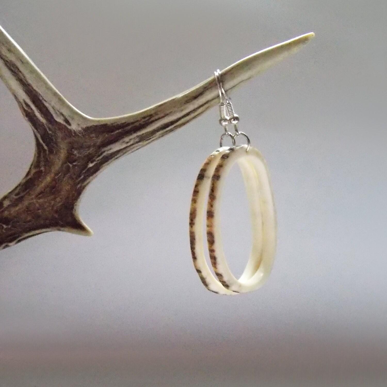 deer antler earrings tribal rustic by mariya4woodcarving