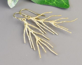 Gold Twig Earrings - Pine Needle Jewelry - Gold Branch Earrings - Nature Jewelry