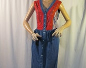 size 18 W denim dress: CAROLE LITTLE vintage sleeveless dress, floral embroidery, red and plaid fabric on bodice, made in Hong Kong.......H
