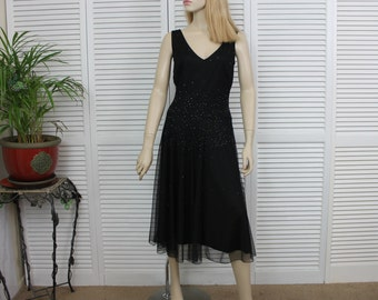 Vintage Black Sparkly Chiffon Gown Size 6 Sequins and Beads
