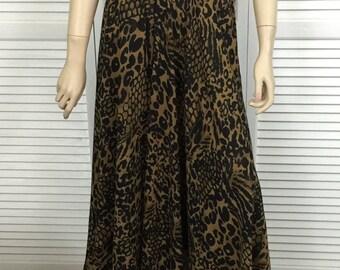 Vintage Long Full Animal Print Skirt Size Large
