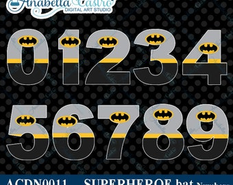INSTANT DOWNLOAD Batman inspired clipart numbers clip art for scrapbooking or invitations