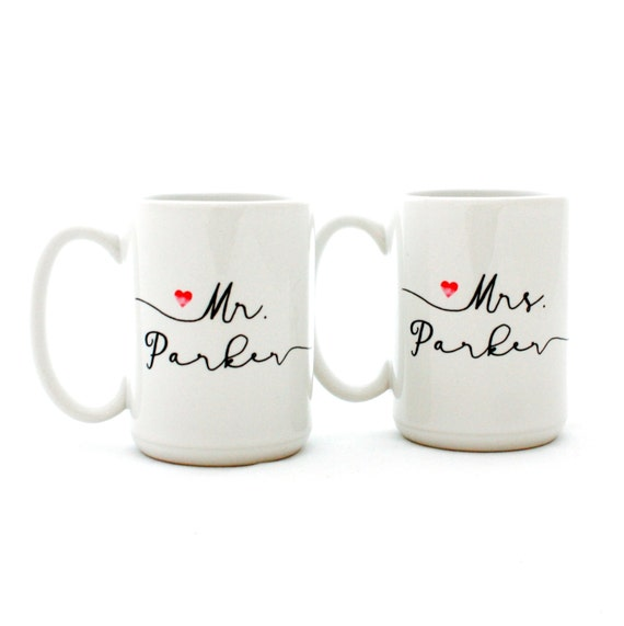 Marriage Gifts. Custom Mr. and Mrs. Mugs. Personalized Wedding Present for couples.