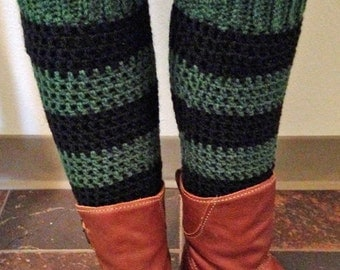 Teen - Adult Leg Warmers - Black and Green Sport Stripe - Acrylic Yarn Blend  - Handcrafted Crochet - Accessory