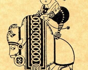 Kawaii Buffalo Girl Rubber Stamp