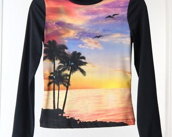 Photo Print Sunset Beach Scene 90s Stretchy Top