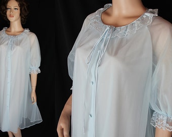 60s 70s Artemis Robe / Peignoir / Neligee / Pin Up / Sheer / Blue / Wedding Trousseau