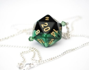 Green and Black Swirl D20 Dice Necklace - RPG, Nerd, Geekery, Dice Jewelry