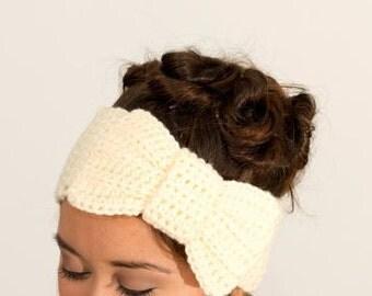 Buttercream Knit Bow Headband / Large Bow Earwarmer Crocheted, Handmade Women's Accessory, Winter Head Band, Teens, Soft Knit