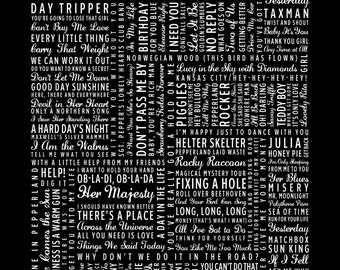 Beatlemania - The Beatles Typography Song Catalog Print