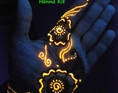 Glow in the Dark Henna Kit -  Mehndi, bridal, gift for her, rave, teens, girlfriend,birthday, party