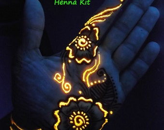 Glow in the Dark Henna Kit -  Mehndi, bridal, gift for her, cool, teens, girlfriend,birthday,graduation, party
