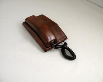 Vintage Leather Telephone Man Cave Decor