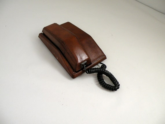 Man Cave Leather : Vintage leather telephone man cave decor