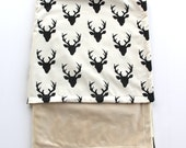 Deer Baby Blanket, Buck Forest Blanket, Cream Baby Blanket, Cream and Black Minky Blanket