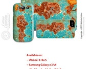 Turquoise Green Orange Rust abstract rusty Photo Device case wrap around hard shell iPhone case Samsung case