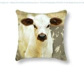 White Baby Cow Brown Ears Calf Rustic Farm House Decor vintage look nursery Curious Cow Toss Pillow Cute Baby Pillow  Throw Pillow Cover