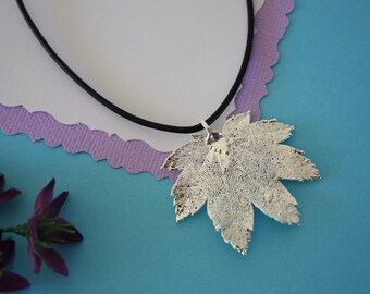SALE Leaf Necklace, Silver Full Moon Maple Leaf, Real Leaf Necklace,Silver Full Moon Maple Leaf Pendant, SALE41