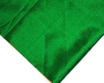 Emerald Green Pure Silk Fabric - Soft Pure Silk - Plain Silk Fabric - Dress and Curtain Fabric By Yard