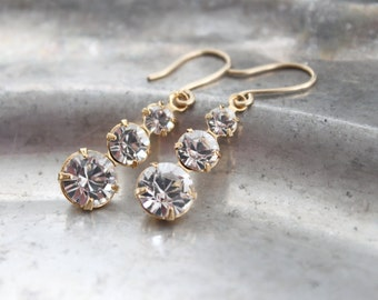 Swarovski Crystal Earrings - Graduated Crystal Drop Earrings, Gold Plated Drops with 14 k Gold Filled Earwires, Bridal, Anniversary Gift