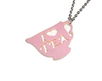 I Love Tea Necklace, Pastel Pink Teacup Cute Quirky Kitsch Jewelry, Laser Cut, I Heart Tea, Heart Shape