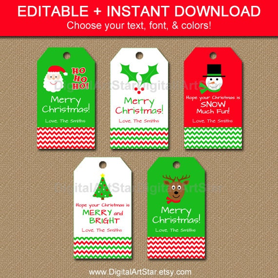 Printable Christmas Gift Tags - Chevron Tags - Editable Christmas ...