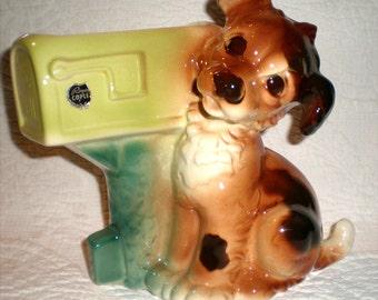 Royal Copley Dog Planter Or Card Holder