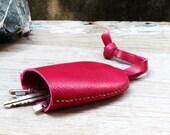 Bell keys holder/ pink geniune cow leather