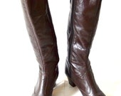Leather Boots Size 9N 1970s Vintage Dark Brown