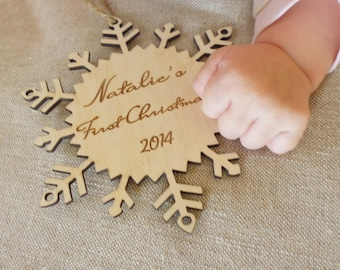Personalized Baby's First Christmas Wood Ornament Tree Decor Engraved Christmas Decoration  Newborn Wooden Snow Flake Ornament