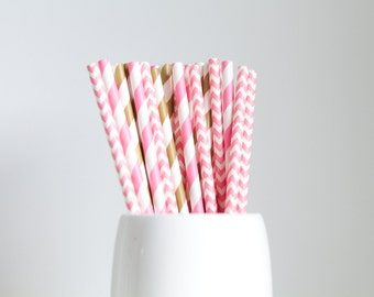 Pink and Gold - Chevron and Stripes Paper Straws