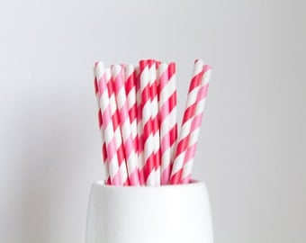 Strawberry Striped - Red and Pink Paper Straws