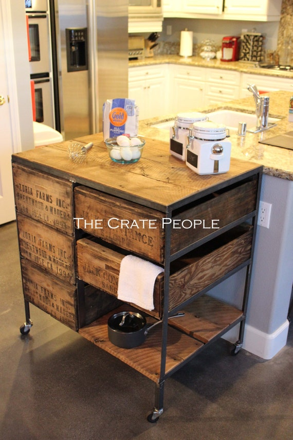 kitchen island crate combo industrial cart custom crate. Black Bedroom Furniture Sets. Home Design Ideas