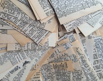 Vintage Dictionary Paper, Cut Paper Pieces, Book Page Scrap Pack, ACEO Supply, Mixed Media Art, Journaling, Card or Jewelry Making Supplies
