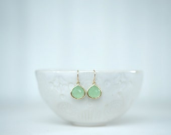 Mint Green and Gold Teardrop Earrings