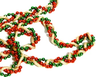 Christmas Retro Orange Garland Vintage 1950's Holiday Tree Accents Orange Green and Gold Tree Decorations