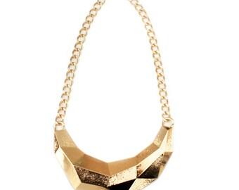 Gold Southwestern Geometric triangular bib statement necklace