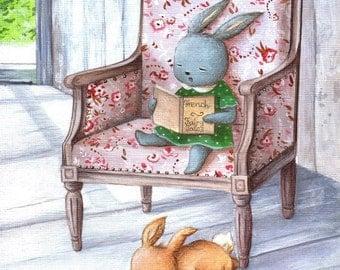 Bunny Story Time, Art Print, Nursery Decor, Baby Gift, Bunny Art, Kid's Bedroom Art, Cute Nursery Art