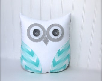 Decorative owl pillow, grey green nursery pillow, mint green chevron pillow, grey and green owl decor by whimsysweetwhimsy