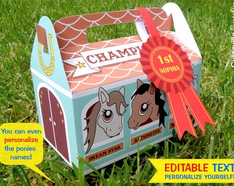 PDF Printable Pony Stable Cupcake Gift Box with Editable text - INSTANT DOWNLOAD