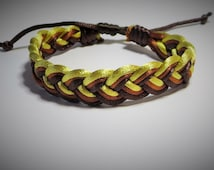 Classic Sailor Knots Bracelet, Gold, Brown and Dark Brown Adjustable Bracelet, Hand Woven Bracelet.