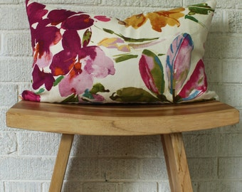 Colourful Floral Pillow Cover, Small Fushia lumbar floral pillow