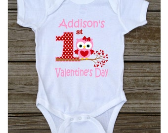 1st First Pink Girl Valentine's Day Owl T-shirt Bodysuit Pink Red - First Valentine's Day Owl Tshirt or Bodysuit - Personalized