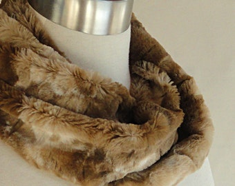 Faux Fur Scarf - Toffee Textured Faux Rabbit Scarf - Textured Minky Faux Fur Scarf .
