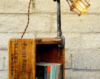 Reclaimed Desk Clamp Light with Trouble Light Cage