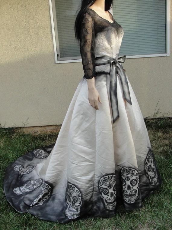 Reserved large size 14 hand painted sugar skull skeleton for Sugar skull wedding dress