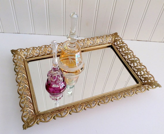 Vintage Gold Filigree Mirror Vanity Tray Rectangle Tray