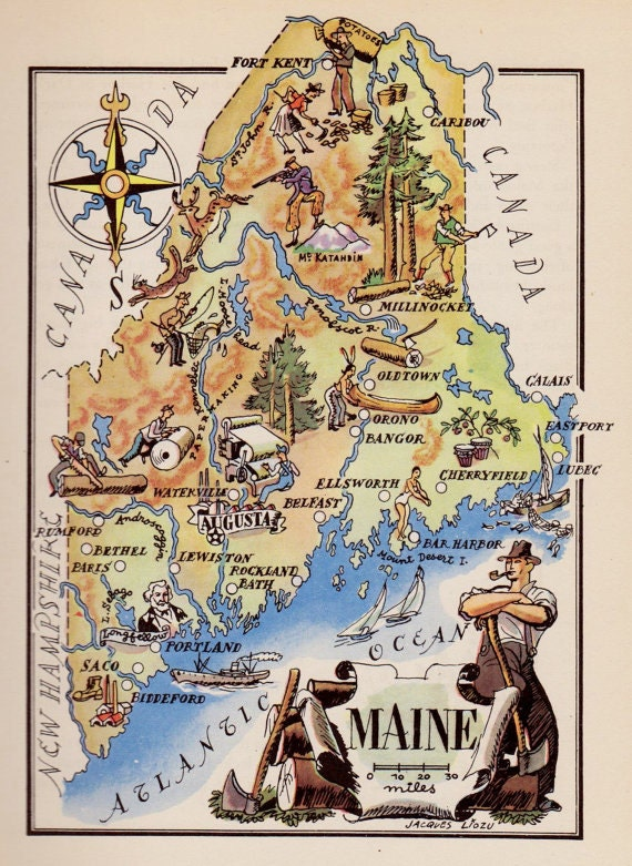 Maine Map Art Old Map Illustration Vintage Map Print - Maine map